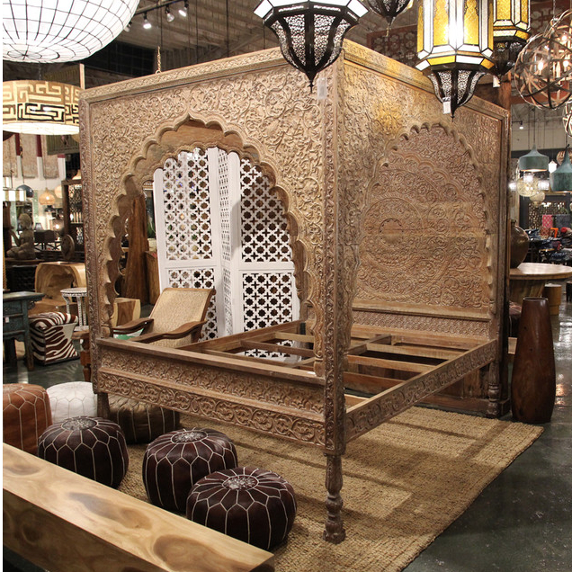 Carved Wood Relief Canopy Bed Furniture Mix Furniture