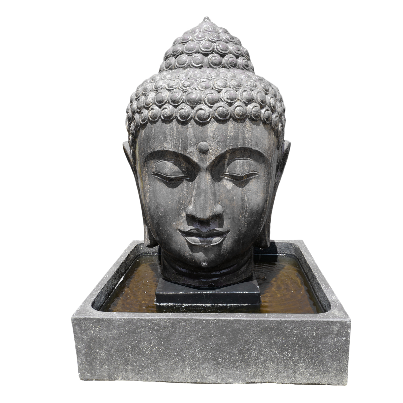 Large Buddha Head Fountain: Cast Faux Stone Buddha Head Fountain Furniture
