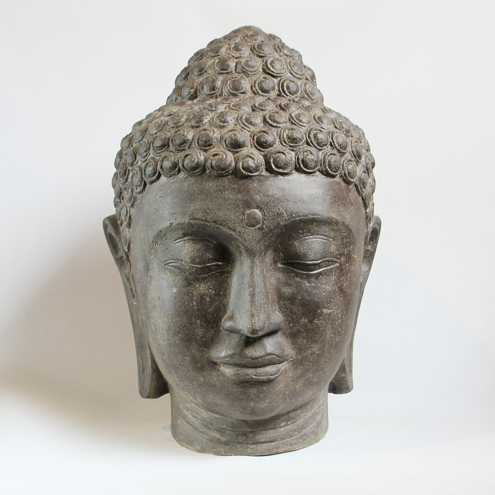 Large Buddha Head Fountain: Cast Faux Stone Buddha Head Furniture