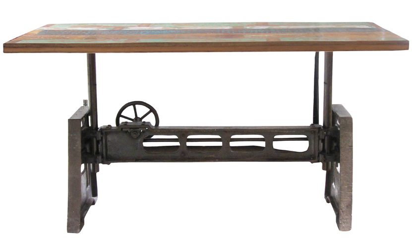 Reclaimed Wood And Iron Adjustable Dining Table Furniture