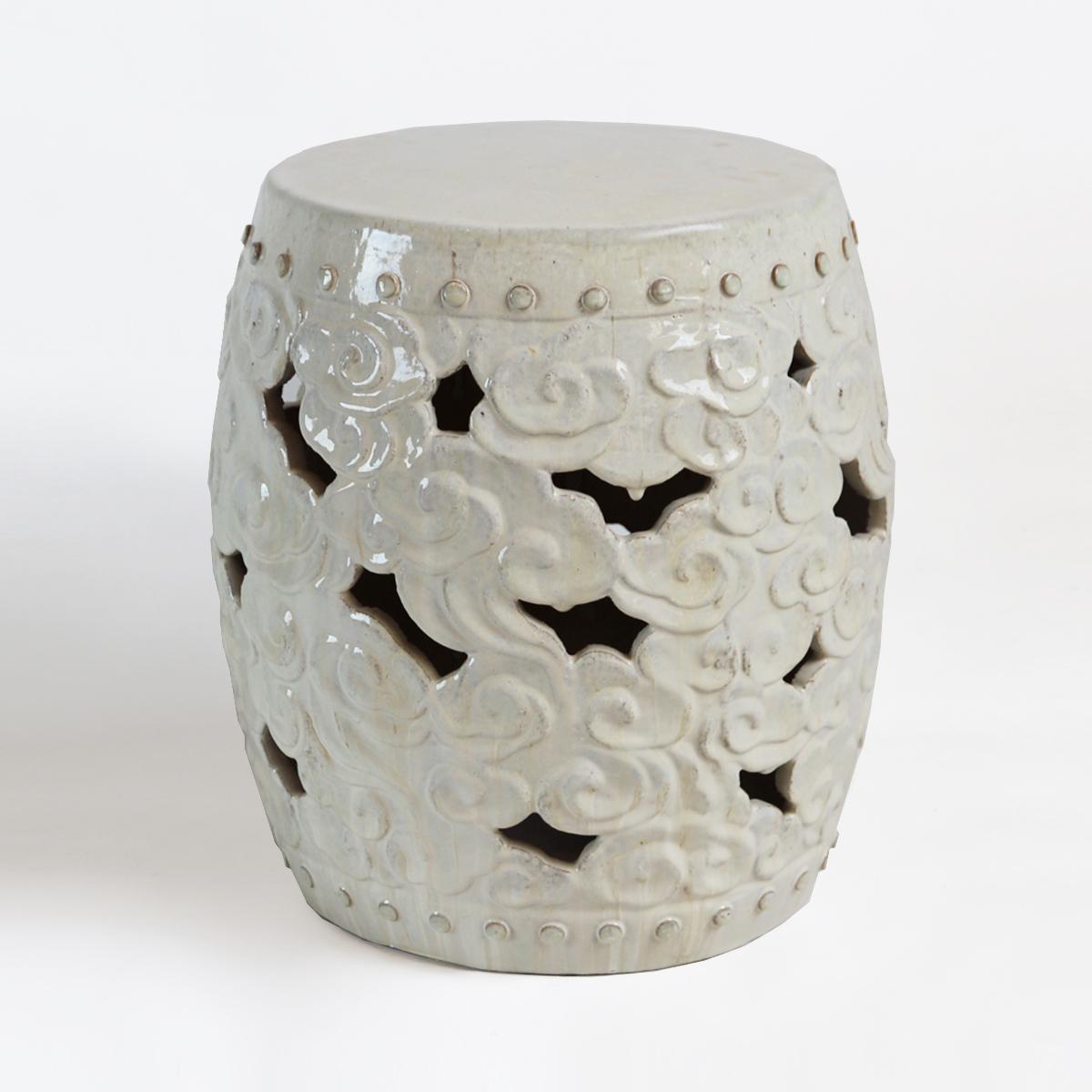 White Ceramic Barrel Cloud Garden Stool Furniture Mix