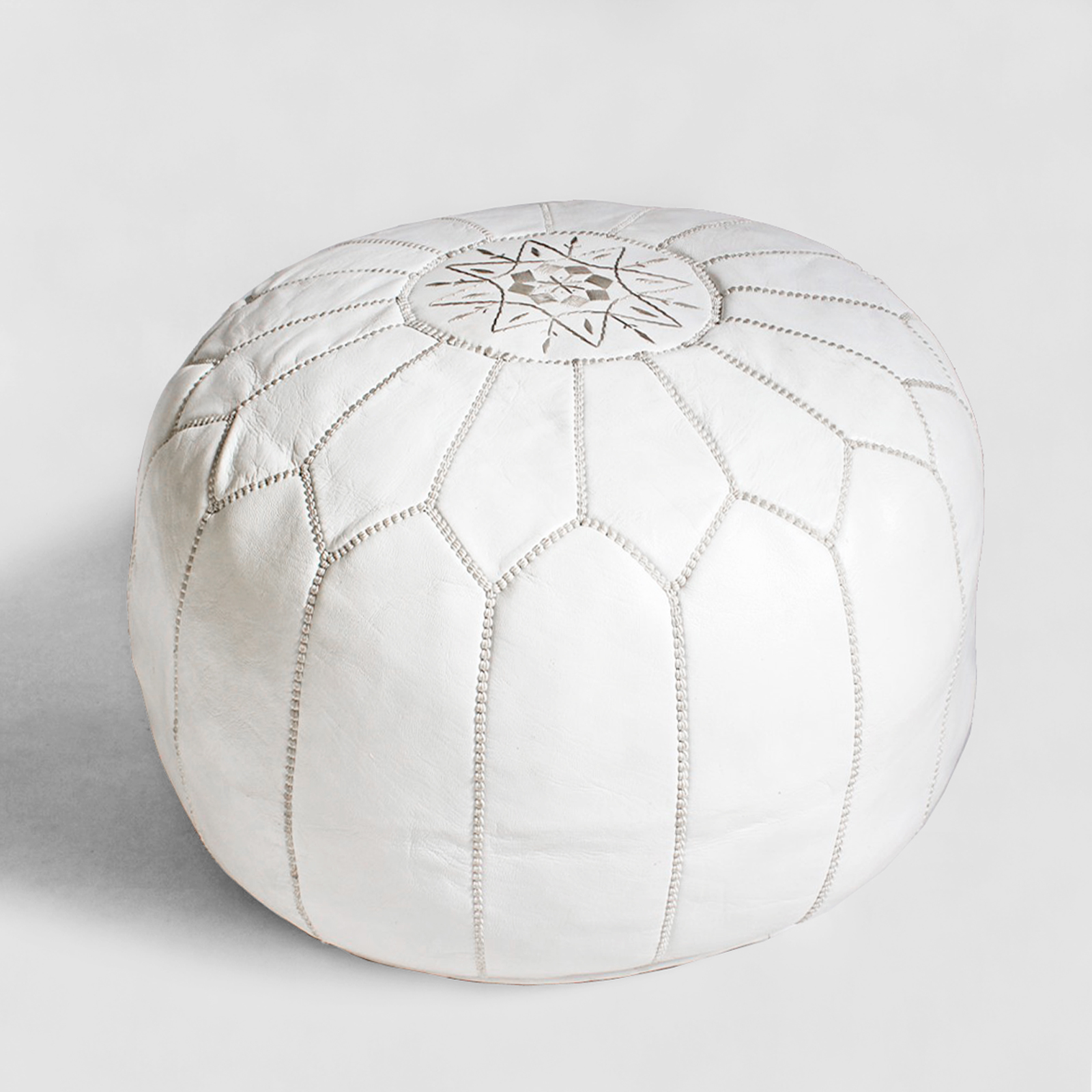 Surprising White Leather Ottoman Pouf Furniture Design Mix Gallery Gmtry Best Dining Table And Chair Ideas Images Gmtryco