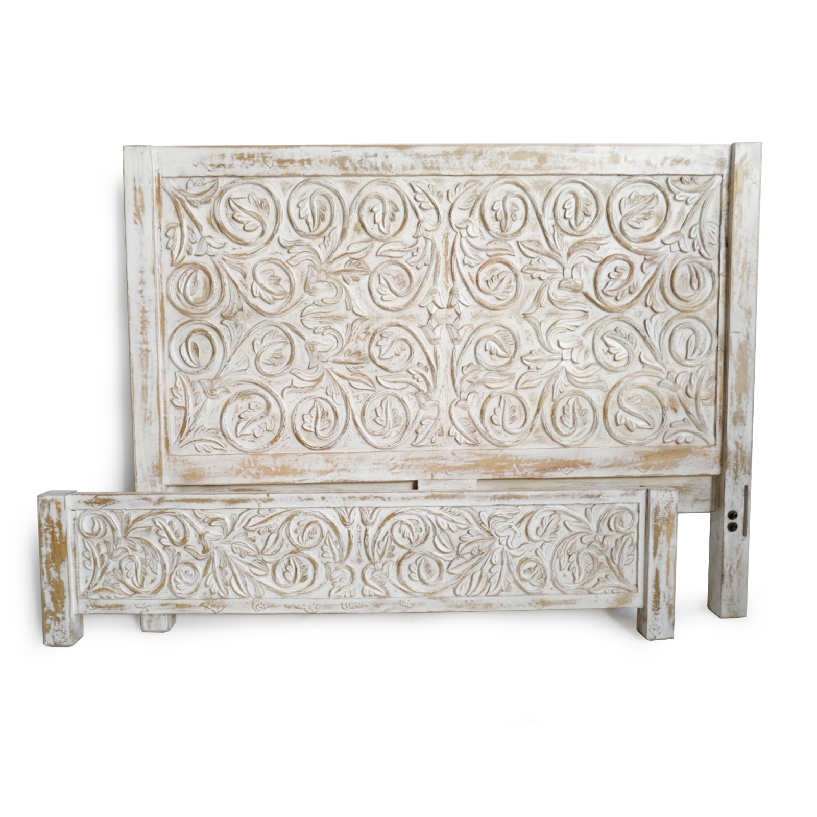 Picture of: White Wash Leaf Scroll Queen Bed Furniture Design Mix Gallery